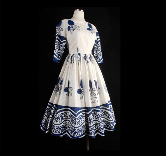 Vintage 50s Blue White Full Skirt Dress Arabic Floral Print