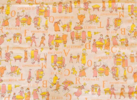 Vintage 70s Novelty Children's Fabric Alphabet and Pie Victorian Pink Yellow Orange