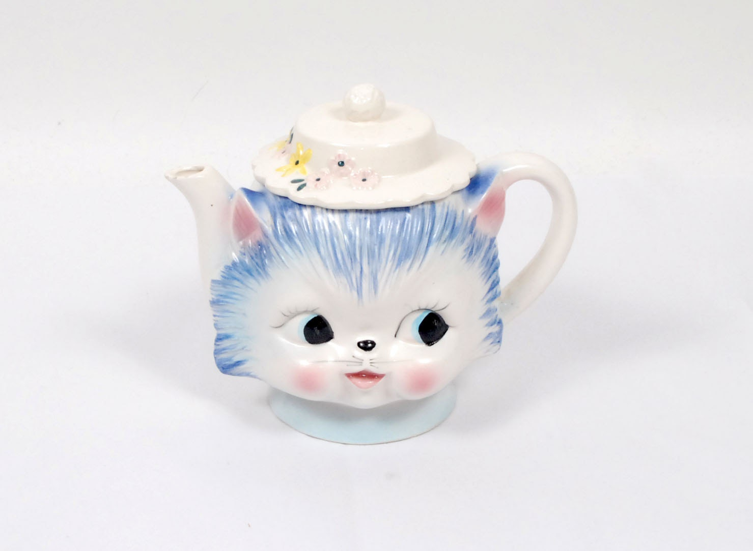 Vintage 50s Kitty Cat Teapot Pitcher Miss Priss Fenton Pink