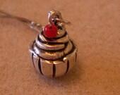 Fine Silver Cupcake Pendant