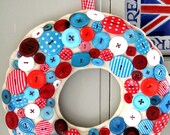 Wreath for Christmas GIANT size smothered with Aqua and Red Buttons