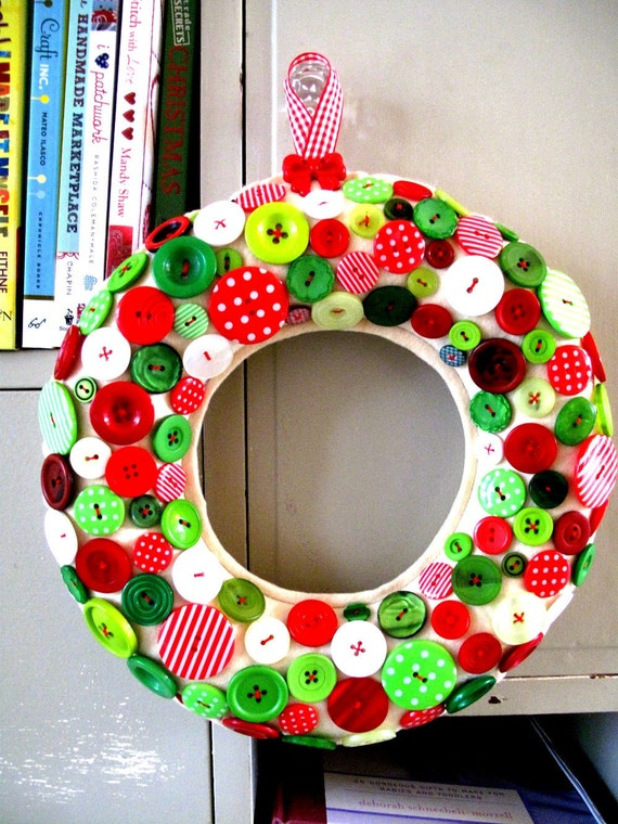 Wreath for Christmas GIANT size smothered with Green and Red Buttons currently made to order.