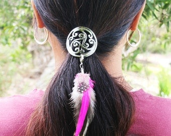 Hair Hook & Feathers Hair Accessory - Gun Black Celtic with Pink/Grey Feathers - FREE USA SHIPPING!