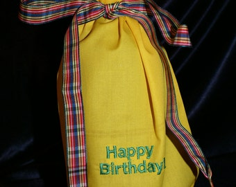 Machine embroidered Happy Birthday gift bag, bottle cozy, bottle bag, birthday bottle wrap