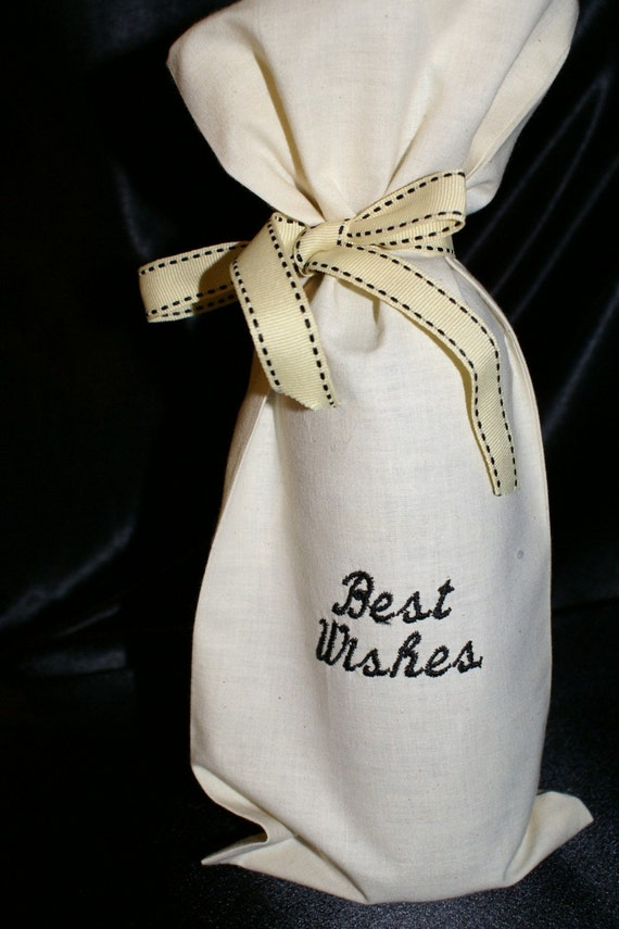 Best Wishes embroidered fabric bottle bag