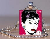 Audrey Hepburn Scrabble Tile Pendant Necklace - FREE BALL CHAIN