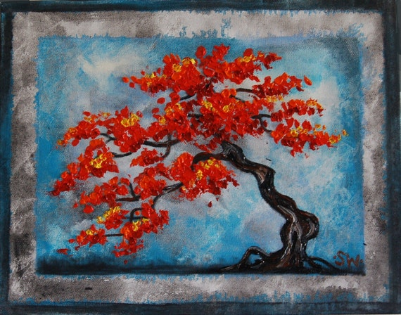Framed Red Bonsai Original Oil Painting