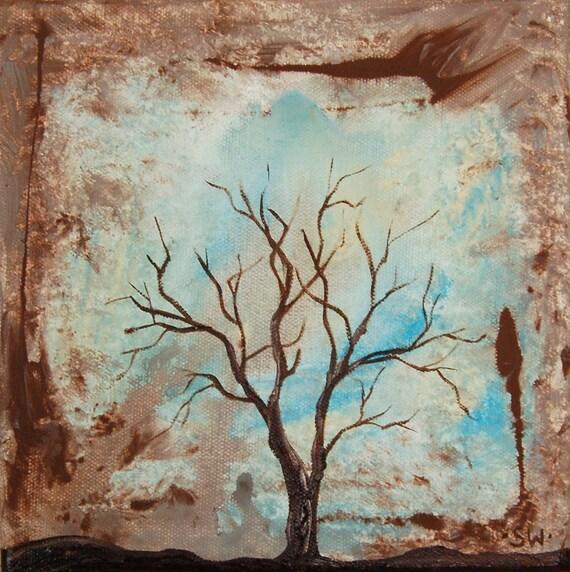 Tree Silhouette Mini Original Painting
