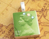 Green Queen Collection Stamp Scrabble Tile Pendant
