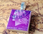 Purple Marianne of the Republic of France Vintage Postage Stamp Scrabble Pendant