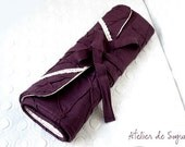 Customizable Straight Needle Case Needle Holder Project Bag Knitting Needle Case in Eggplant Purple