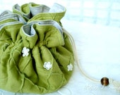 Drawstring bag Notion pouch organizer craft bag organizational solution in Lime Green