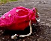 Knitting Bag Craft Bag Drawstring Sock Bag Lunch Bag Knitting on the go in Hot Pink