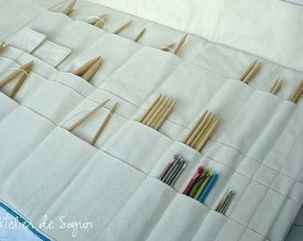 Straight Knitting Needle Case Needle Holder Project Bag Knitting Needle Case in Green Pea