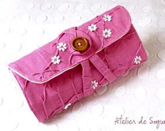 Needle Case Holder Organizer Interchangable Addi Knitpicks Knitting Needle Case in Textured Fuchsia Magenta Pink