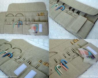 needle holder needle case knitting needle case double pointed needle case in dark navy