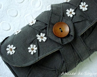 Needle Case Needle Holder Knitting Needle Case Interchangable Knitting Needle Case in Textured Charcoal Grey Gray