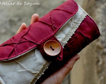 Large Straight Needle Case brush case pencil case cosmetic organizer in Burgundy Natual Linen