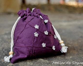 Knitting Bag Craft Bag Drawstring Sock Bag Lunch Bag Knitting on the go in eggplant purple