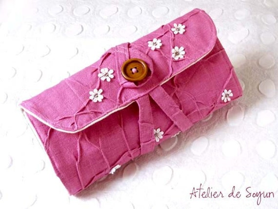 Needle Case Holder Organizer Interchangable Addi Knitpicks Knitting Needle Case in Textured Fuchsia Magenta Pink