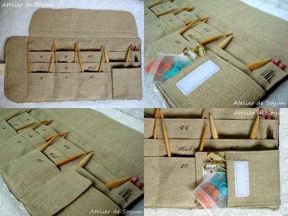 Circular Needle Case Needle Holder Knitting Needle Case Circular Needle Case in Textured Coral Orange Turquoise