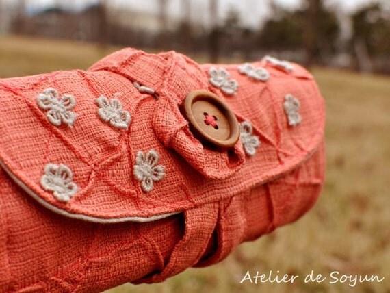 Circular Needle Case Needle Holder Knitting Needle Case Circular Knitting Needle Case in Rustic Coral