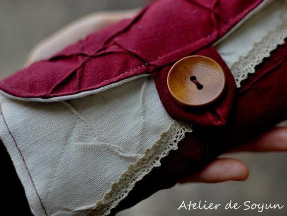 DPN Organizer Knitting Needle Case Needle Holder Craft Bag in Burgundy Wine Natural Linen