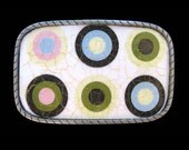 Designer Belt Buckle.  Interchangeable.  Handmade.  Fun, hip circles, dots.  Great with jeans!  Collect a bunch to use with snap belts.