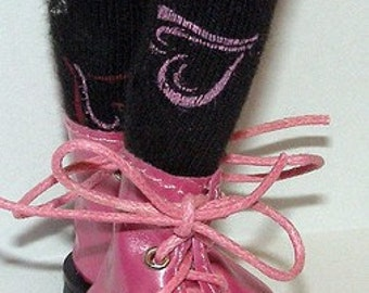 Tall Black Socks With Hearts For Blythe...One Pair Per Listing...