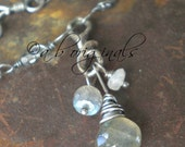 Labradorite, Moonstone and Sterling Silver Necklace
