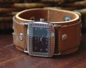 OOAK Navy blue watchface on brown vintage leather cuff wrist watch - unisex