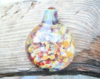 Hand Made Borosilicate Orange and Red Pendant  From Misty Creek Studio Artist Terry Sieber