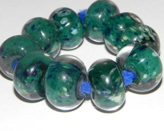 SALE-Ten Dark Green, navy, pearl green, and yellow, hand made Boro Beads by Misty Creek Studio Artist Terry Sieber