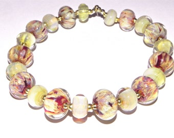 SALE-Yellow and Ruby Hand Made Borosilicate Beads From Misty Creek Studio Artist Terry Sieber