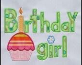 INSTANT DOWNLOAD Birthday Girl Applique designs 2 sizes