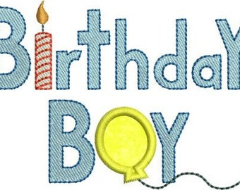 INSTANT DOWNLOAD Birthday Boy Applique designs 4x4 hoop
