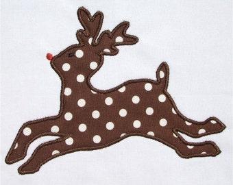 INSTANT DOWNLOAD Reindeer Applique Design and Redwork design