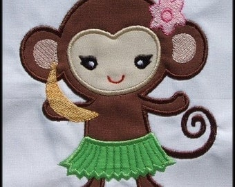 INSTANT DOWNLOAD Hula Monkey applique designs 3 sizes