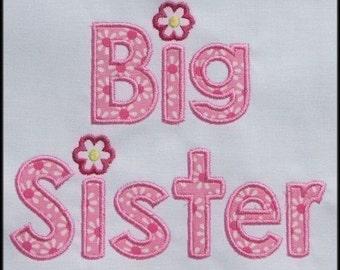INSTANT DOWNLOAD Big Sister Applique designs 2 sizes