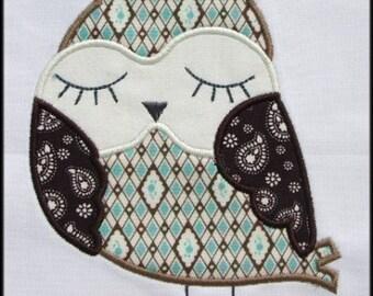 INSTANT DOWNLOAD Sleepy Owl Applique designs