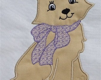 INSTANT DOWNLOAD Pretty Cat Applique Design