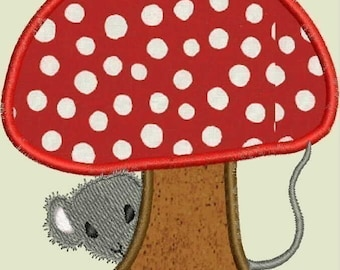 INSTANT DOWNLOAD Mouse and Mushroom Applique design