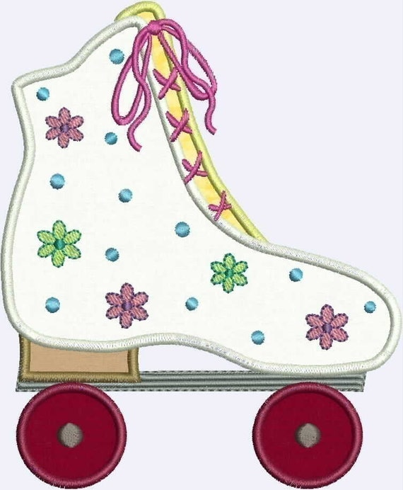 Flower Power Roller Skate Applique designs 4x4 and 5x7 hoop Machine Embroidery
