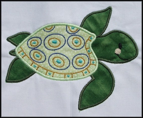 INSTANT DOWNLOAD Baby Sea Turtle Applique and Fill designs