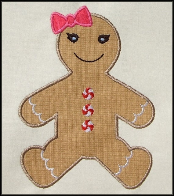INSTANT DOWNLOAD Gingerbread girl Applique designs 3 sizes