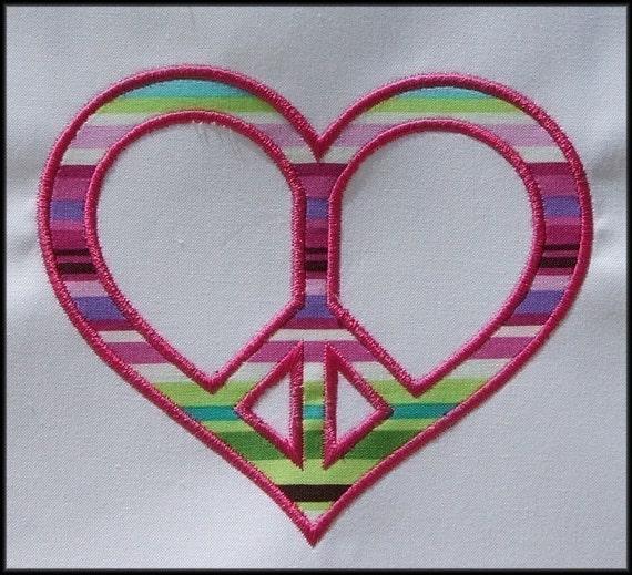 INSTANT DOWNLOAD Heart Peace symbol Applique designs 3 sizes