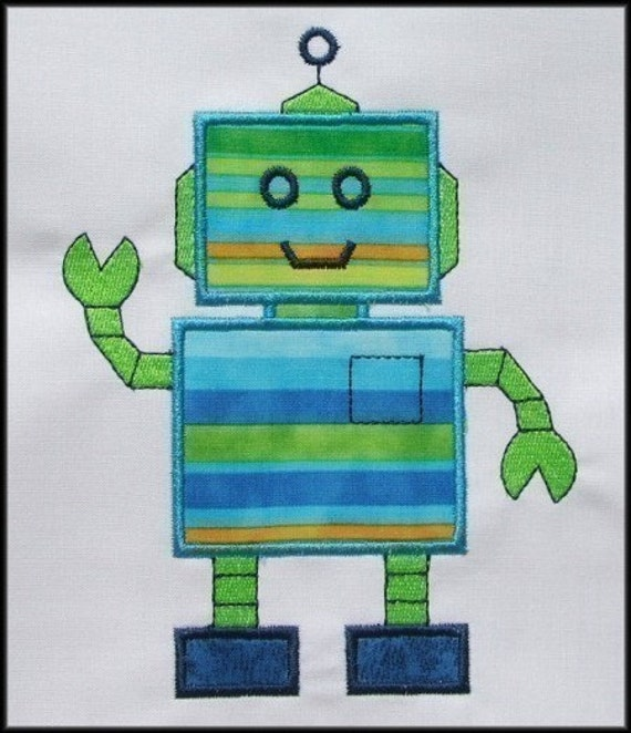 INSTANT DOWNLOAD Wally the Robot Applique design
