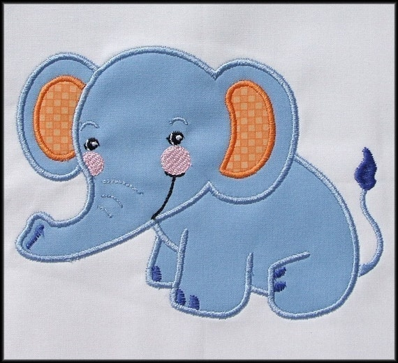 INSTANT DOWNLOAD Baby Elephant Applique and Fill designs