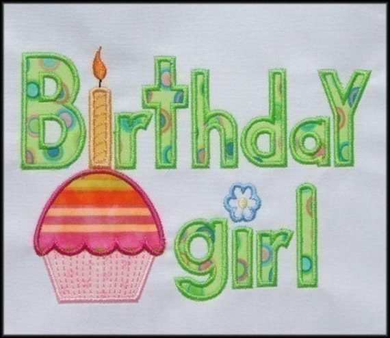 INSTANT DOWNLOAD Birthday Girl Applique designs 2 sizes