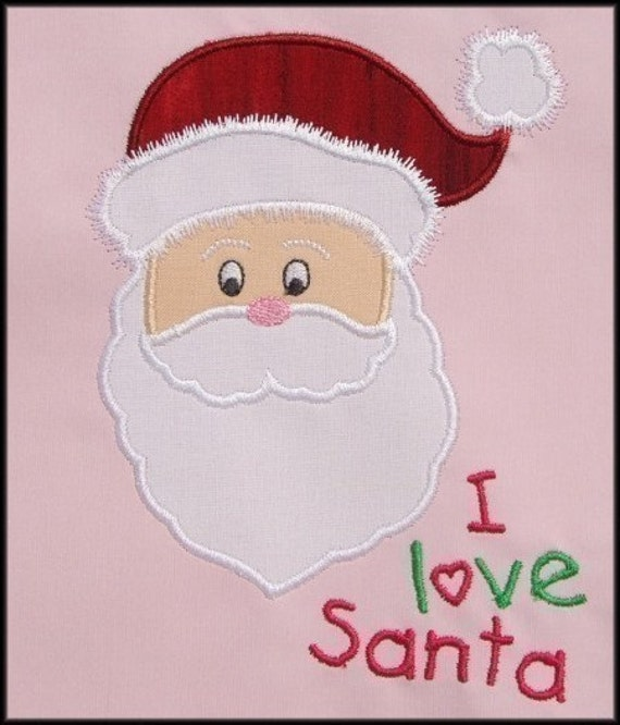 INSTANT DOWNLOAD I love Santa Applique designs 3 sizes